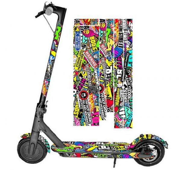 electric scooter with many stickers in various colors