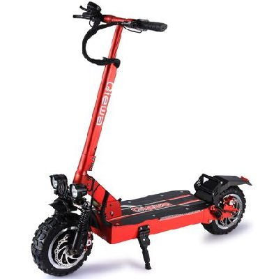 front diagonal view of a red Qiewa Q Power with black wheels, deck, and stand, leaning on its stand on a white background