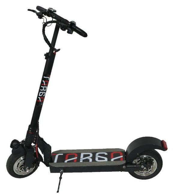 side view of Tarsa T10X electric scooter leaning on its stand on a white background