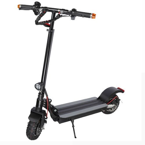 diagonal view of the Tarsa T9 electric scooter leaning on its stand on a white background