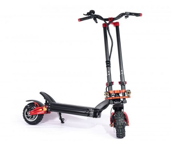 full view of the Techlife X9 electric scooter leaning on its stand on a white background