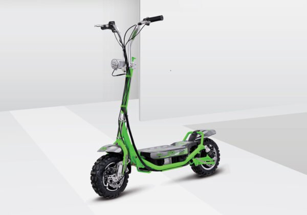 diagonal view of a green Uberscoot 800W electric scooter on a grey shadowed background