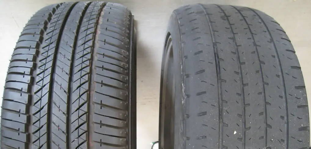 new tire vs old and worn out tire