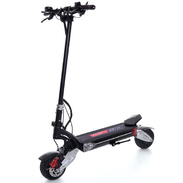 front diagonal view of a black Zero 8X electric scooter with silver and red details